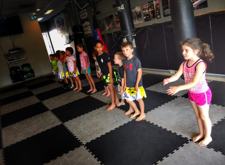 Kids lined up during youth class